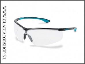 Uvex Sportstyle black/blue, lens helder is anti-condens & krasvast  (NABV voorschrift EN166-F)