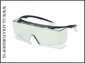 Uvex super OTG F black variomatic, lens groen is anti-condens & krasvast (NABV voorschrift EN166-F)
