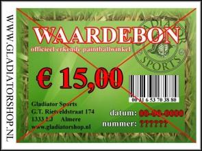 Gladiator waardebon ter waarde van € 15,-