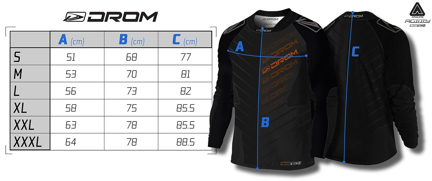 Drom Agility jersey size chart matentabel