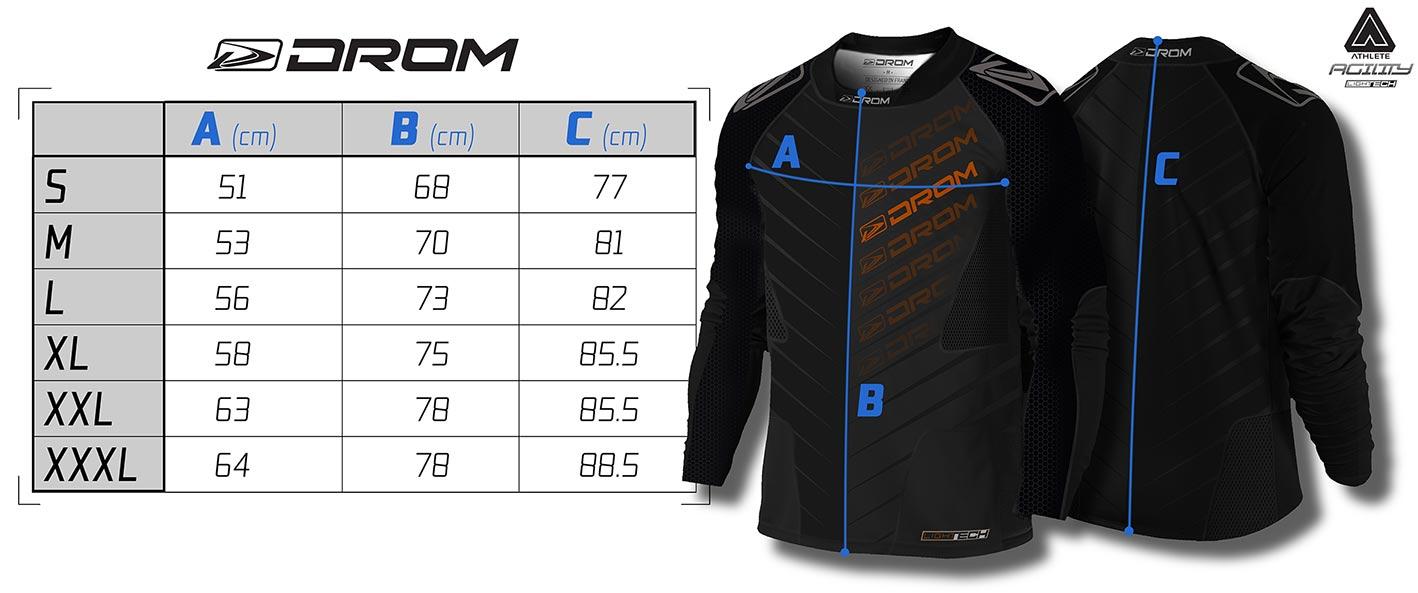 Drom Agility jersey size chart matentabel