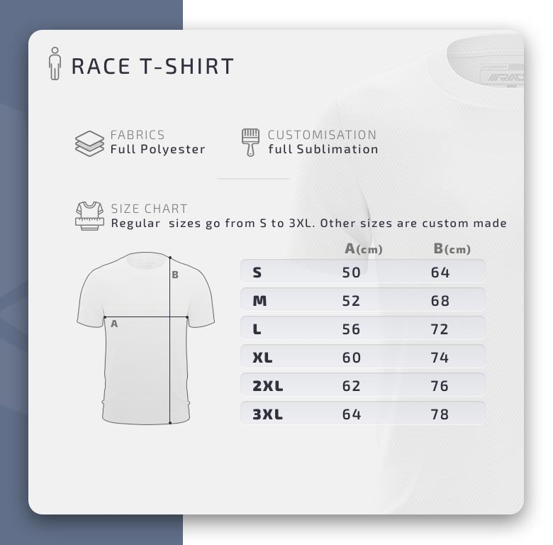 Drom Race shirt size chart matentabel