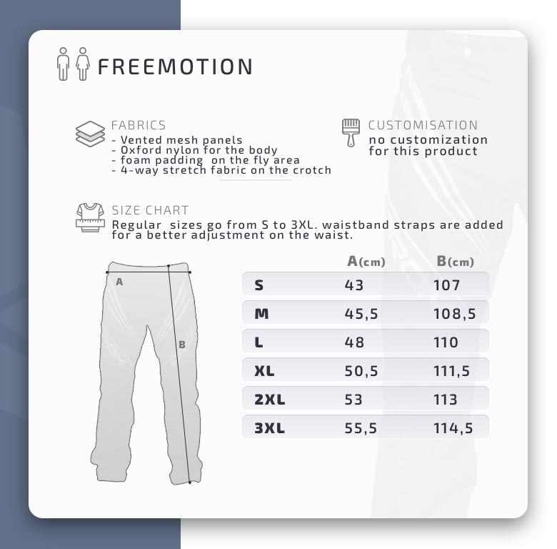 Drom freemotion broeken pants size chart matentabel