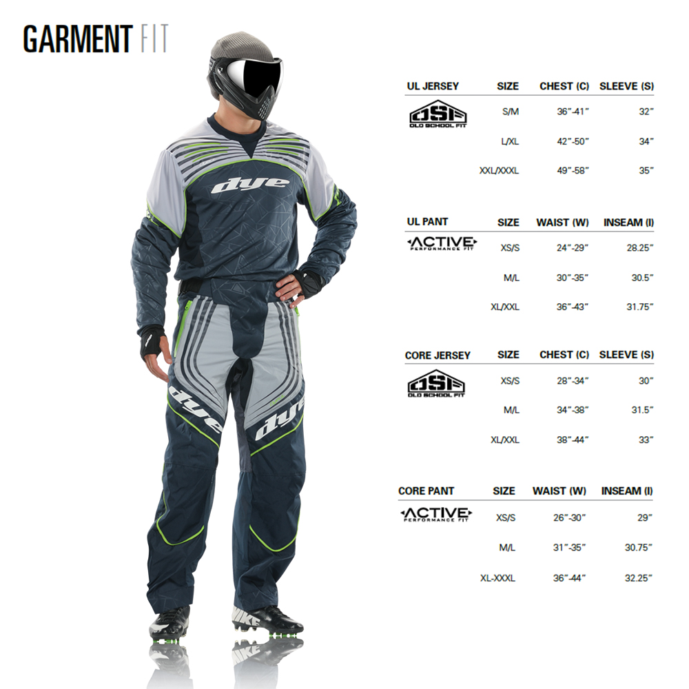 Dye Jerseys & pants size chart matentabel