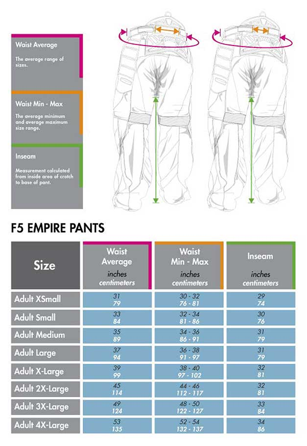 Empire F5 pants size chart matentabel