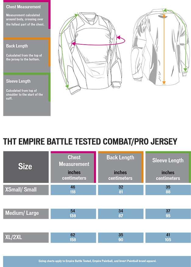 Empire BT Combat / Pro jersey size chart matentabel