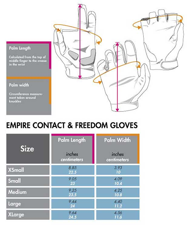 Empire glovessize chart matentabel