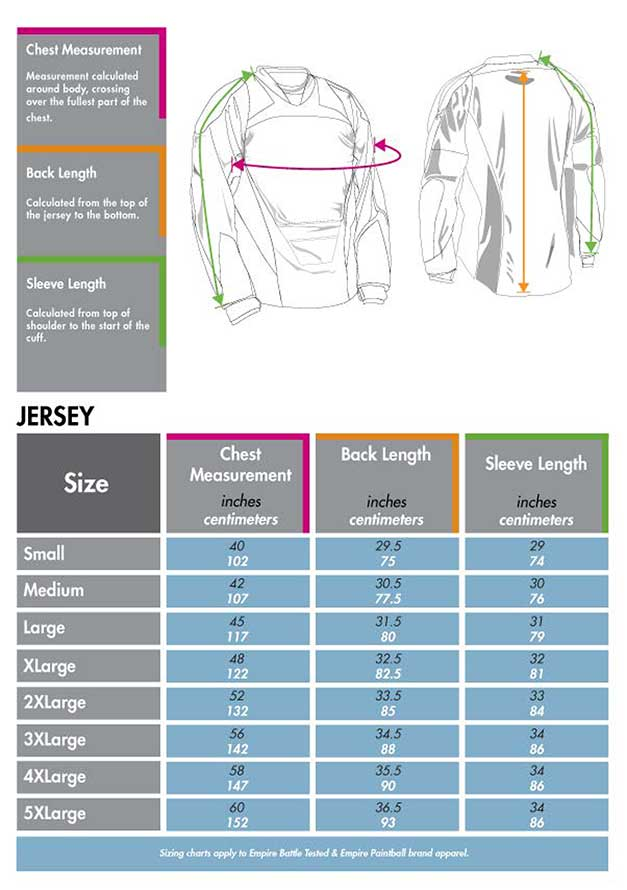 Empire Jersey padding size chart matentabel