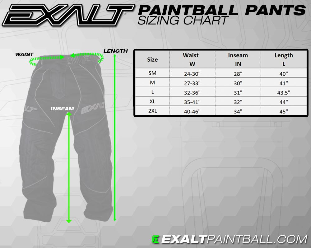 Exalt T4 pants size chart matentabel